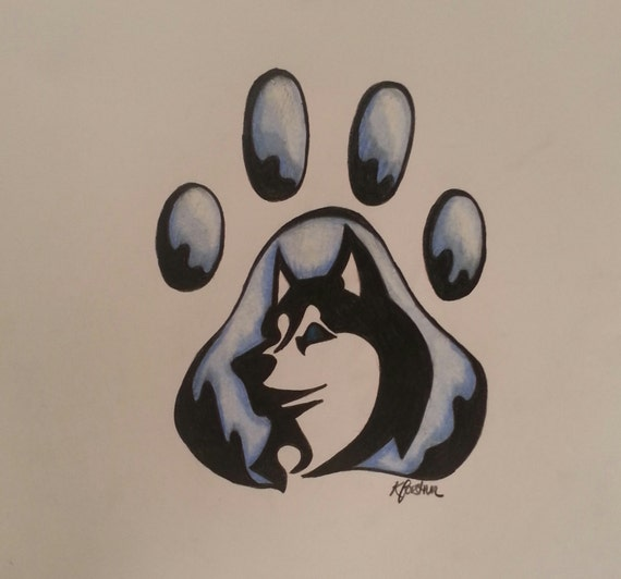 Color Pencil Art Husky Pawprint