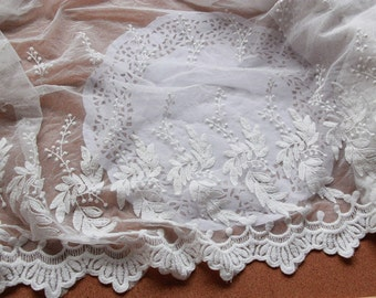 Exquisite Cotton Embroidery Lace Trim, 15 inches Wide Lace Edging for Wedding Dress, Veil, Costume, Craft Making