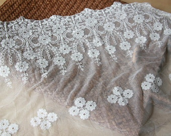 """DIY Lace ribbon online store flower embroidered lace trim DIY material-13.5"""" wide trimming"""