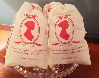 4 Jane Austen Christmas Holiday Bags. Gift Set of 4 Vintage Cotton Drawstring 5x7 6x8 7x9 7x11