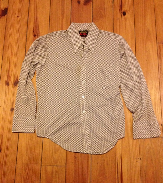 Vintage 1970 39 s mens button up polyester shirt by paintedpony65 for Polyester button up shirt
