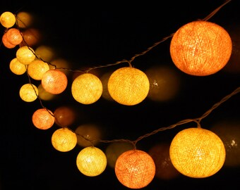 20/Set Handmade Cotton Ball String Lights Yellow Orange Color Ideas Lighting For Christmas Party Home Bedroom Decor By  Lanna Style Thailand