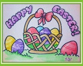 Easter Cards download PATTERN DIY  Happy Easter, eggs, ONLY outlines black on white  By Artist g. tal, Instant download
