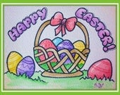 Download complete card Easter greetings colored already painted happy easter card instant download, fold and send to friend!!