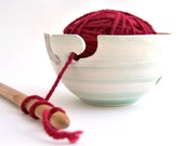 Ceramic Yarn Bowl, Knitting Bowl, Crochet Bowl Hand Painted in Green, with Double Hitch and Openwork Dots. Made To Order
