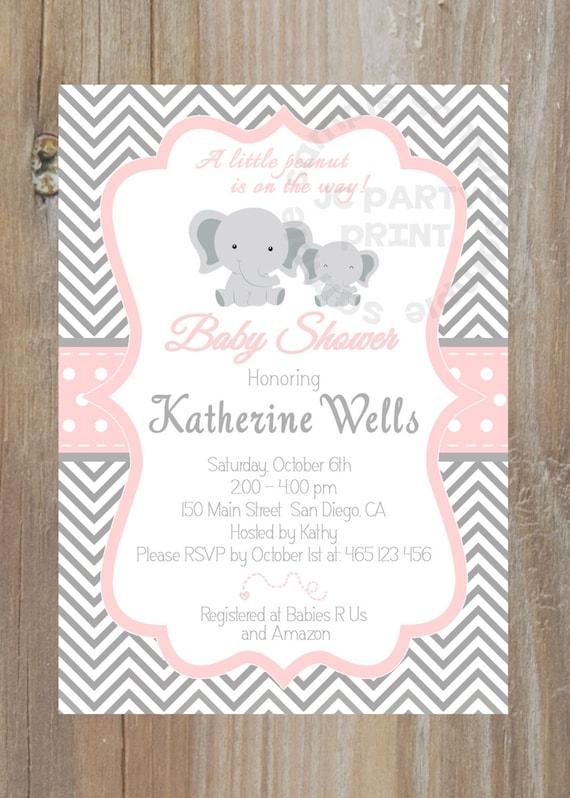 grey and pink chevron baby shower invitation digital file printable