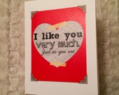 I like you very much (Bridget Jones' Diary-inspired), 4.25x5.5 quarter-fold greeting card, printable, digital