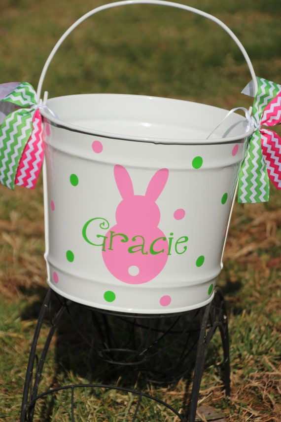 personalized easter basket metal pail easter bunny monogrammed