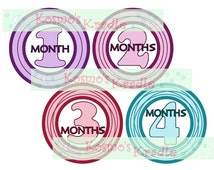 Baby Growth Stickers / Monthly Stickers / Baby Iron-Ons / Monthly Decals / Purple / Pink / Teal / Green / Black - Instant File (Printable)