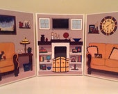 A fully colored craftsman style living room for an eleven inch doll.