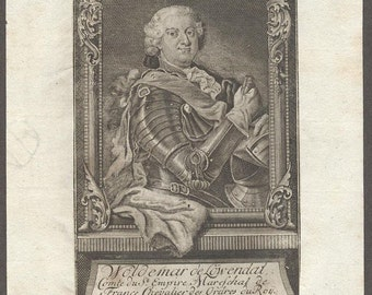 Antique Genuine Engraving c 1750 Portrait of Woldemar Lowendahl Russian General Governor of Estland French Marshal engraved by Johann Sysang