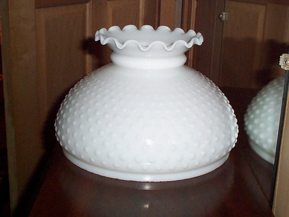 White Milk Glass Hobnail Lamp Shades