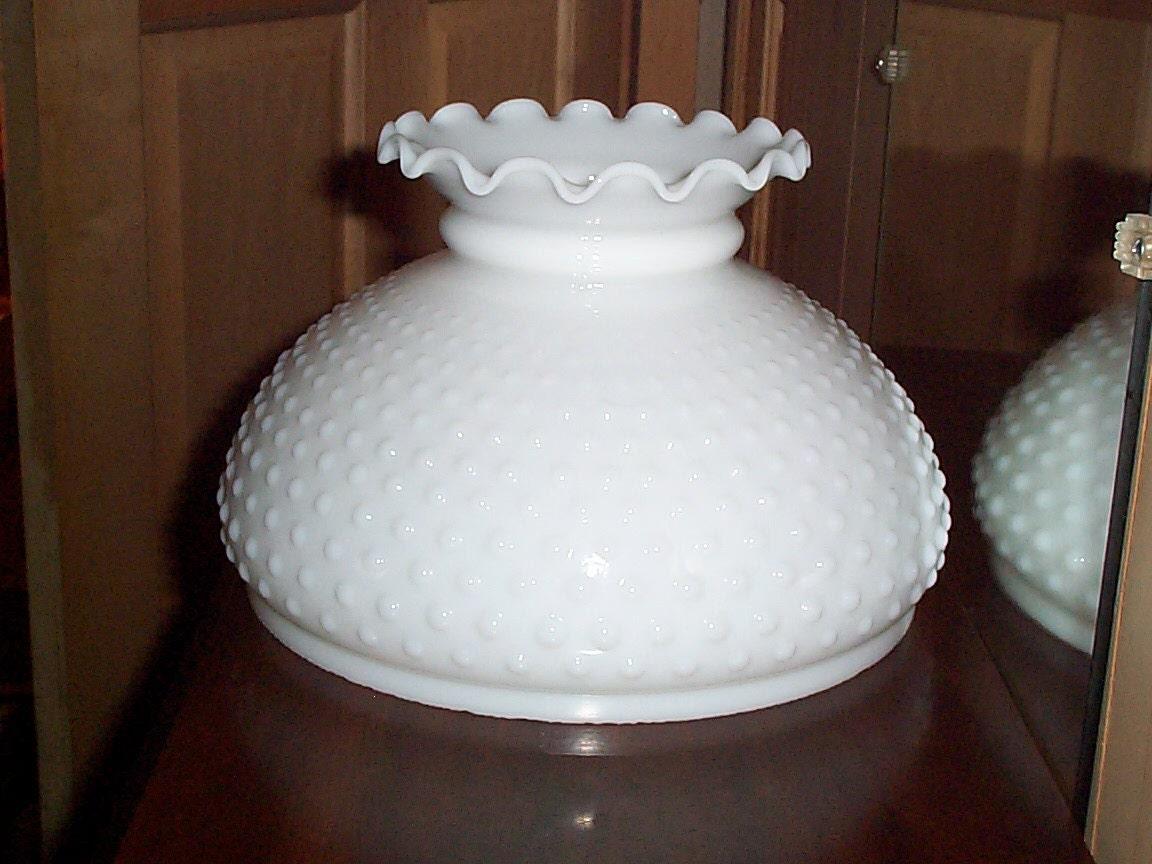 White Milk Glass Hobnail Lamp Shade Hurricane by CreativeYardArt1