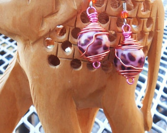 Pink and Orange Cheetah Bead Earrings with Wire Wrap