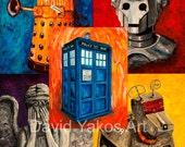 5 prints - Doctor Who Tardis, Cyberman, Weeping Angel, k-9 and Dalek Painting Art Print  8x10s or 11x14s
