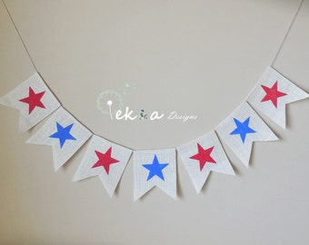 July 4th Banner / Patrotic Sign / 4th of July Sign / burlap banner / Patriotic Decor