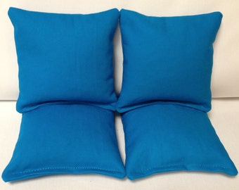 CORNHOLE BAGS 4 Turquoise Duck Cloth Regulation Bags