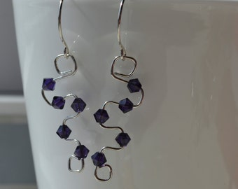 Purple Swarovski Crystal and Sterling Silver Earrings Handmade Wire Wrapped