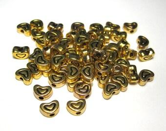 50pcs Antique Gold Heart  Metal Spacer Beads, 7x5x3mm Craft Supplies