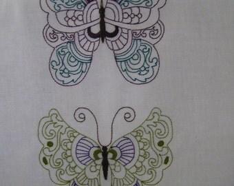 Set of 10 Colour work Butterflies