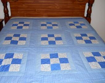 Blue Nine Patch Quilt
