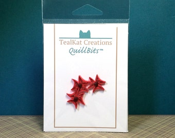 Quillbits Red Quilled Flowers Embellishment
