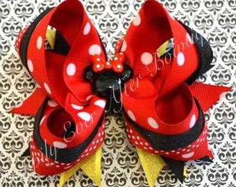 Minnie Mouse Boutique Stacked Hair Bow
