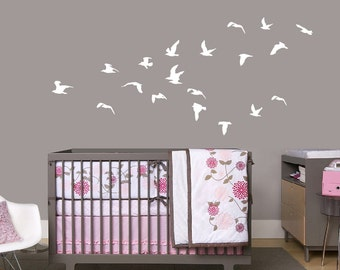 Flying Birds, Flock of Birds, Bird decal Nursery decal