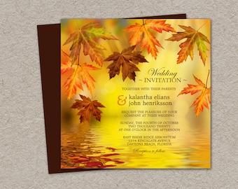 DIY Printable Fall Wedding Invitation, Falling Leaves Wedding Invitations, Fall Leaves Wedding Invitations, Fall Wedding Invitation Sets