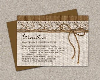 DIY Printable Rustic Wedding Direction Cards Enclosure Cards With Burlap And Lace, Wedding Information Cards, Wedding Invitation Inserts