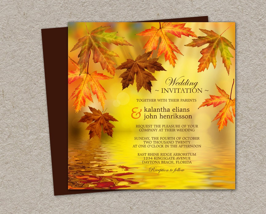 Diy Autumn Wedding Invitations: DIY Printable Fall Wedding Invitation Falling Leaves Wedding