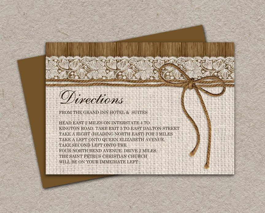 DIY Printable Rustic Wedding Direction Cards Enclosure Cards