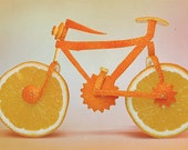 Food Photography - Orange Bicycle - Fine Art Photography Print -Housewarming Gift - Fresh Fruit - Juicy - Home Decor - Kitchen Decor - Print