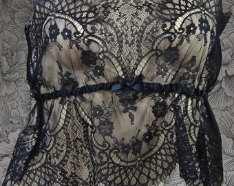 Black lace camisole with adjustable ribbon straps