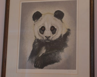 """Vtg. """"Panda Cub""""  by Martin Katon signed and numbered 50 / 300"""