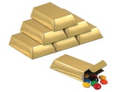 Foil Fold Your Own Gold Bar Favor Boxes Party Accessory 12 Count, Pirate Party Theme Items, Party Favors For Festive Occasions, Gold Boxes