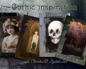 Gothic inspiration INSTANT DOWNLOAD scrapbooking cards printable tags