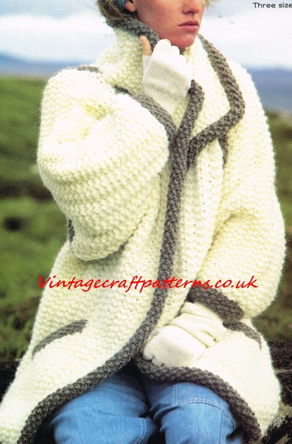 Mega Chunky Knitting Patterns : Ladies mega super chunky coat cardigan vintage by EnglishAran