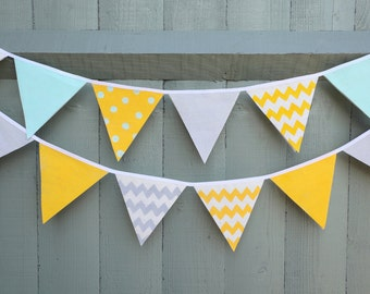 Banner, bunting,  yellow, grey, mint baby shower bunting, nursery décor, birthday party