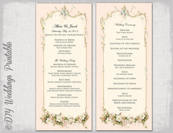 Printable wedding program template for Christian wedding order of service template