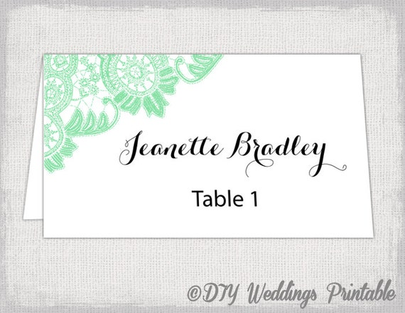 place card template mint lace wedding place card templates