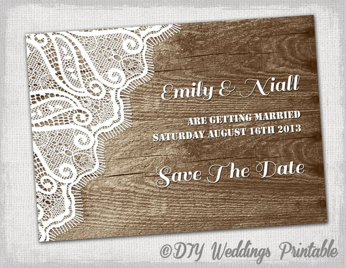 Rustic save the date template printable diy wood zoom pronofoot35fo Images