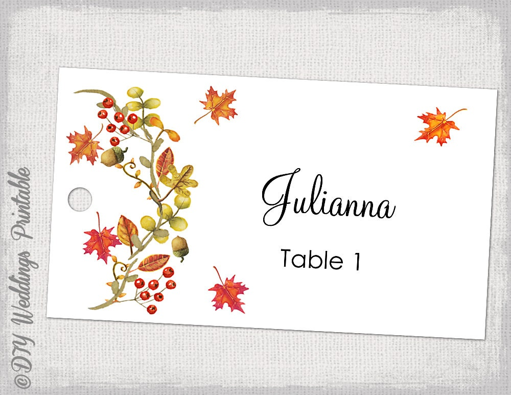 printable escort card template fall diy flat place