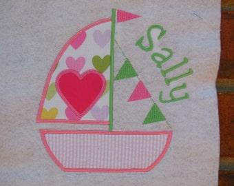 Sailboat shirt, Sailboat Appliqué With Heart