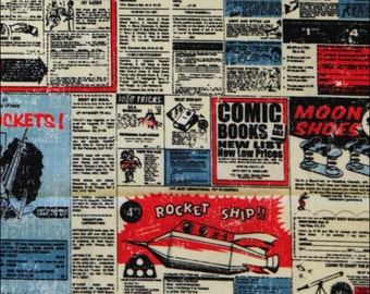 100% Cotton Fat Quarter Riley Blake Rocket Adverts in Red and Blue