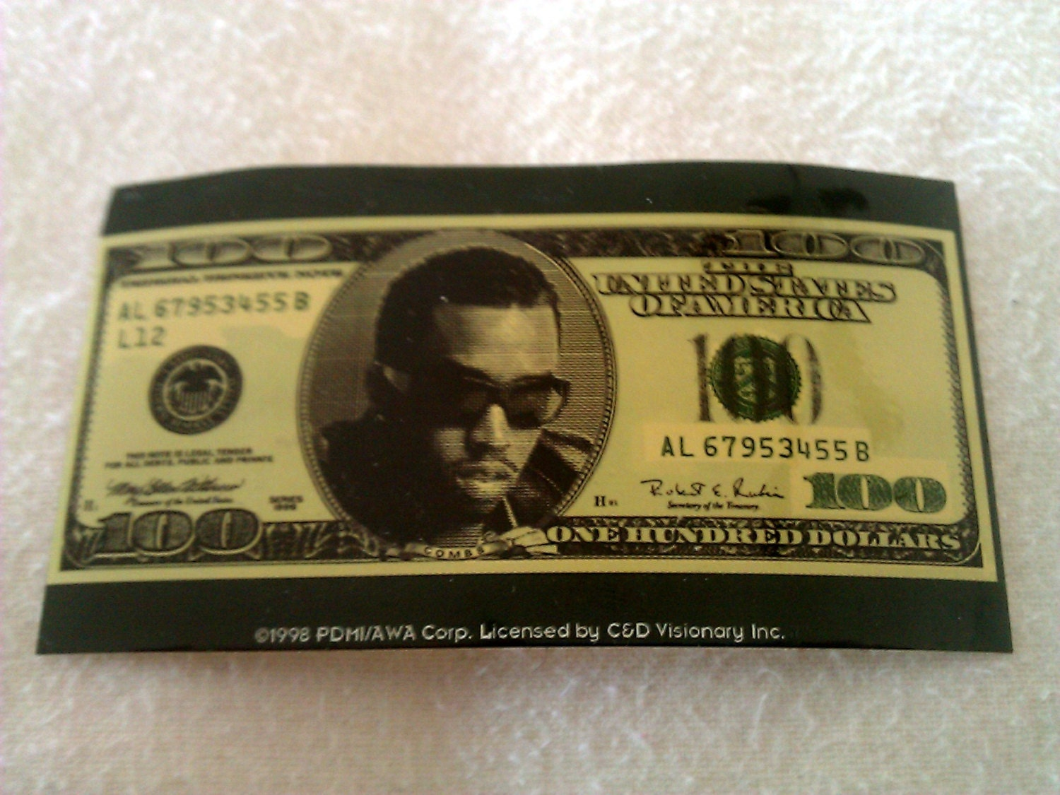 "Sean Puffy Combs Hundred Dollar Bill 4""x2.5"" STICKER DE"