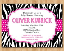 Zebra Print Baby Shower Invitation. Hot Pink Polka Dot Stripe. Pink, Blue, Purple, Blue, Orange, any color. Printable digital DIY.