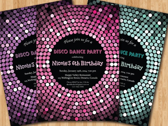 Disco Dance Party Birthday Invitation Girl Birthday Party