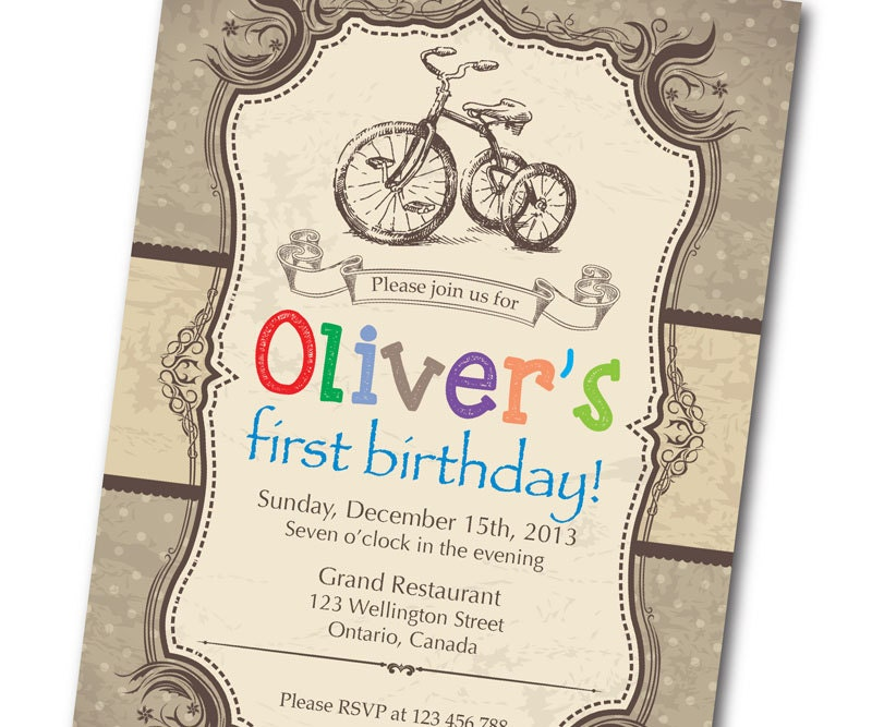 Bicycle Birthday Invitation Retro Rustic Vintage Bicycle - Vintage girl birthday invitation