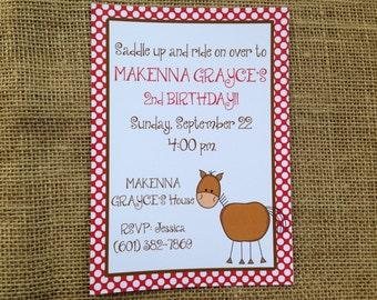 PRINTED or DIGITAL Horse Farm Barn Birthday Invitations 5x7 Customized Horse Invites Design 0.82 each
